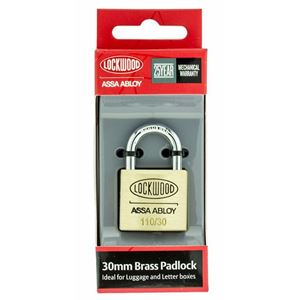 Picture of Lockwood 110 Brass 30mm Padlock 19mm Shackle