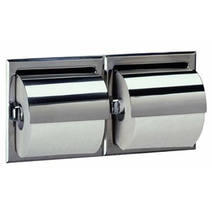 Picture of Bobrick B699 Recessed Toilet Tissue Dispenser with Hood for Two Rolls