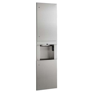 Picture of Bobrick B38030 Trimline Recessed Paper Towel Dispenser/Waste Bin/Automatic Hand Dryer